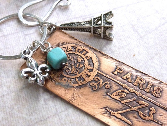 Paris Charm Necklace Etched Copper French Postmark Turquoise Eiffel Tower Silver Gemstone