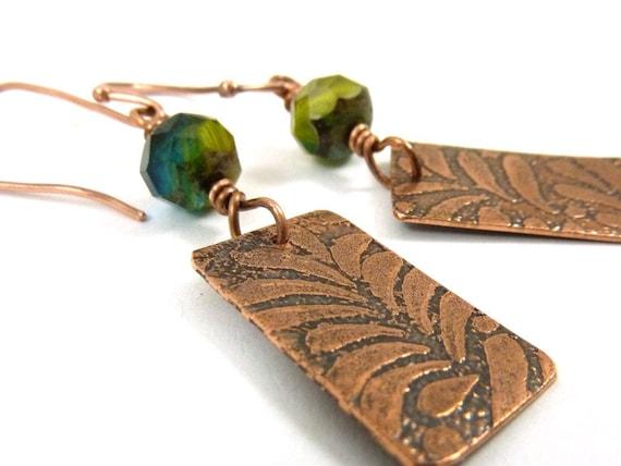 Copper Earrings Etched Metal Green Blue Czech Glass Dangles