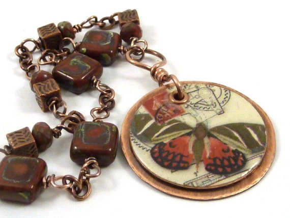 Butterfly Necklace Red Copper Postage Collage Image Resin Brick Color Czech Glass Beads Assymetrical Khaki Vintage Steampunk