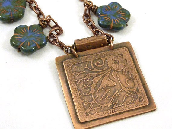RESERVED FOR LISA Etched Copper Necklace Flower Pendant Blue Czech Glass Beads