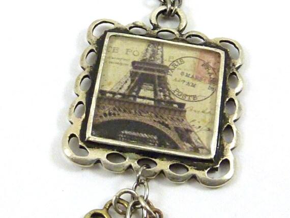 Paris Eiffel Tower Charm Necklace Resin Collage Bezel Vintage French Postcard Silver Pendant