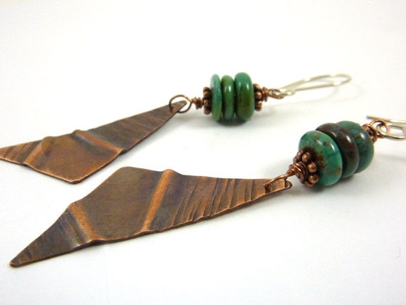 Rustic Turquoise Earrings Fold Formed Hammered Copper Triangles Distressed