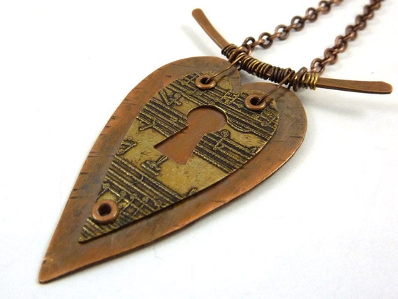 SALE Heart Necklace Mixed Metal Copper Etched Brass Music Keyhole Layered Riveted Rustic Double Hearts