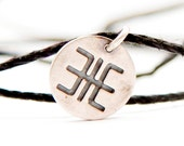 Powerful protection - sign bracelet- handmade sterling silver 925 pendant on leather cord- SIGN OF LIFE