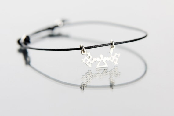 Protection and love for children- handmade sterling silver 925 necklace or bracelet on leather cord- 3 signs- SUN, GOD, THUNDER