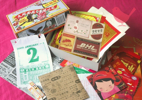 Scrap box 1 - old and new chinese paper ephemera, paper scraps