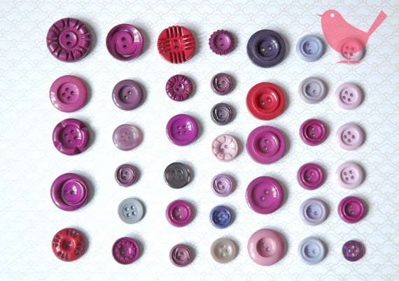 Vintage buttons - assorted purple buttons