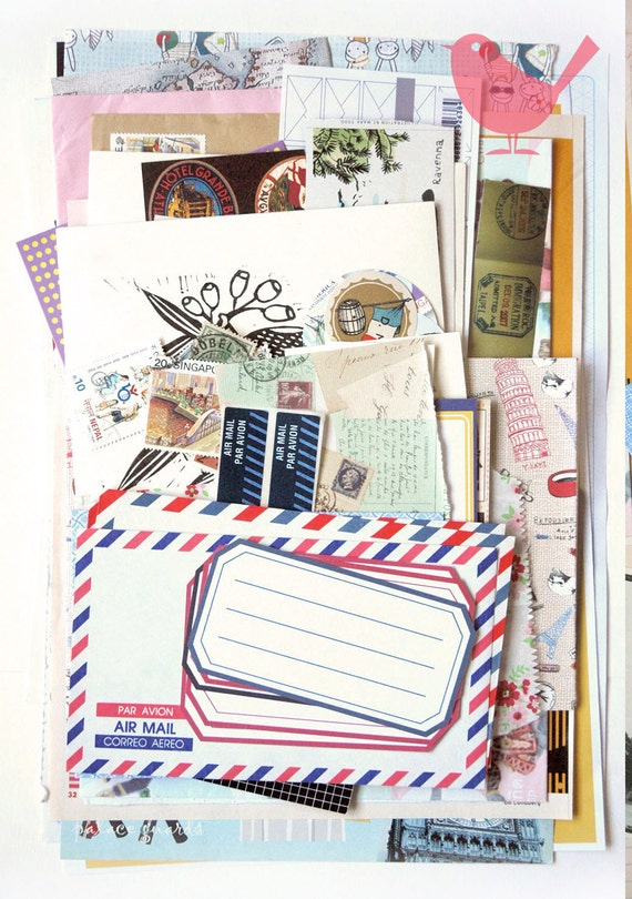 Snail Mail Scrap Pack - New and Vintage paper ephemera, paper scraps