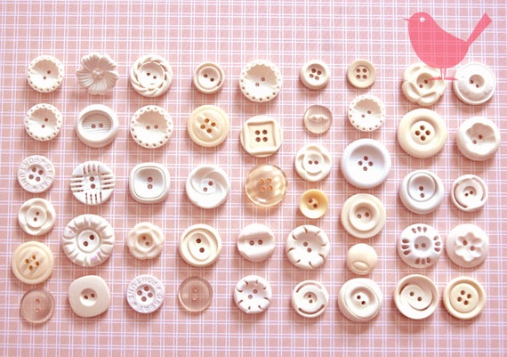 Vintage buttons - assorted white buttons