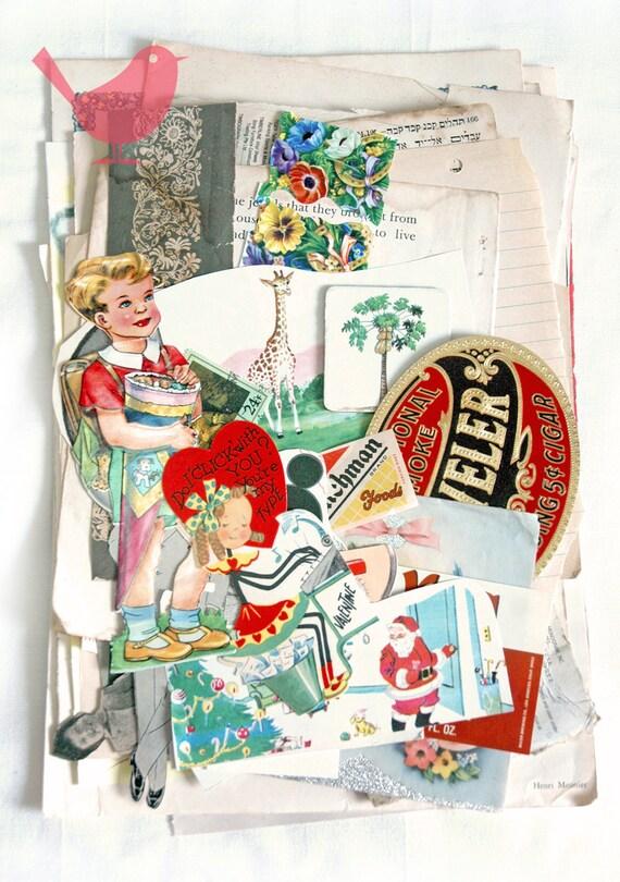 Scrap Pack - Vintage paper ephemera, paper scraps Lot 3