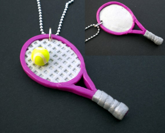 Large Purple Tennis Racquet Necklace on Silver Ball Chain