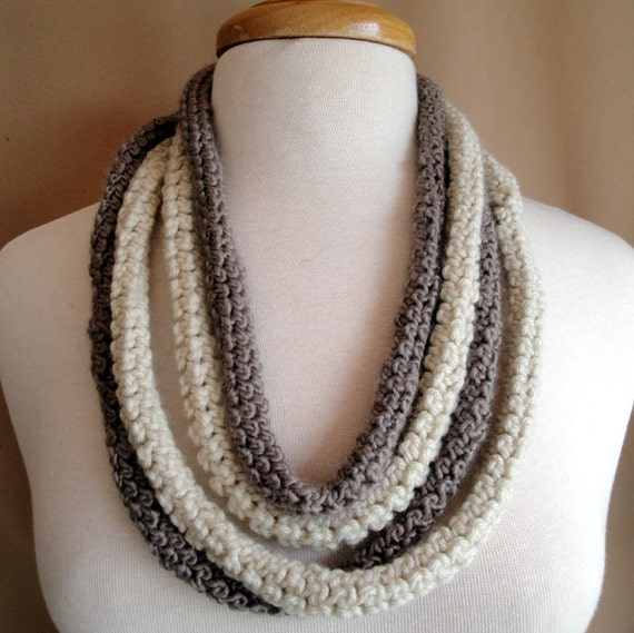 Crocheted Necklace Ropes in Cream and Khaki