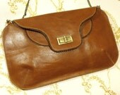 SALE Tan leather purse with birds  Free shipping