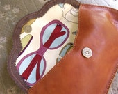Gorgeous tan leather clutch with birds & sunglasses lining FREE shipping