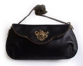 SALE - Gorgeous black leather clutch with a horse