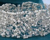 Crochet Silver and White Crystal Cuff