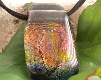 Fused Dichroic Glass Color Shade Pendant