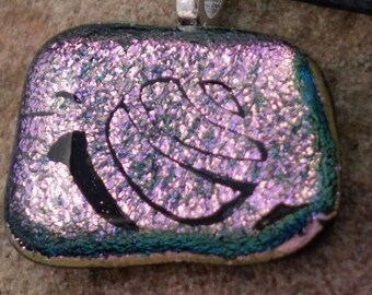 Fused Glass Hot Pink Dichroic Snail Pendant
