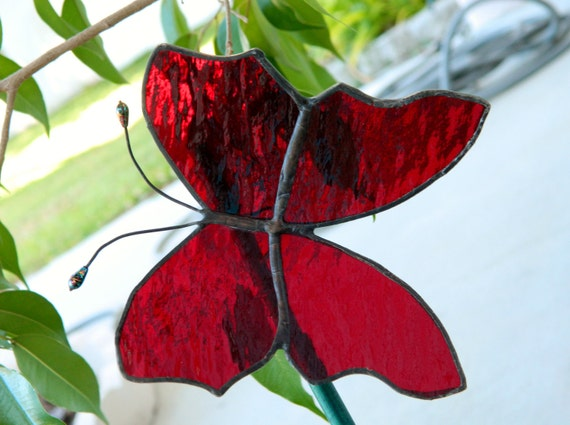 Red Stained Glass Butterfly Suncatcher Plant Stake