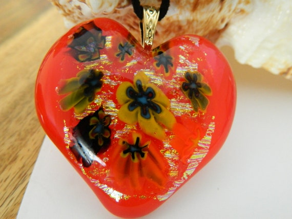 Fused Glass Millefiori and Red Heart starbursts dichroic pendant necklace