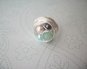 Silver bird's nest ring (multicolored beads)-any size