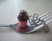 Chocolate frosted cupcake with sprinkles polymer clay charm