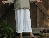 linen pant with pleated ruffle in white ready to ship