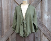 linen jacket flirty in dark olive green with ruffles