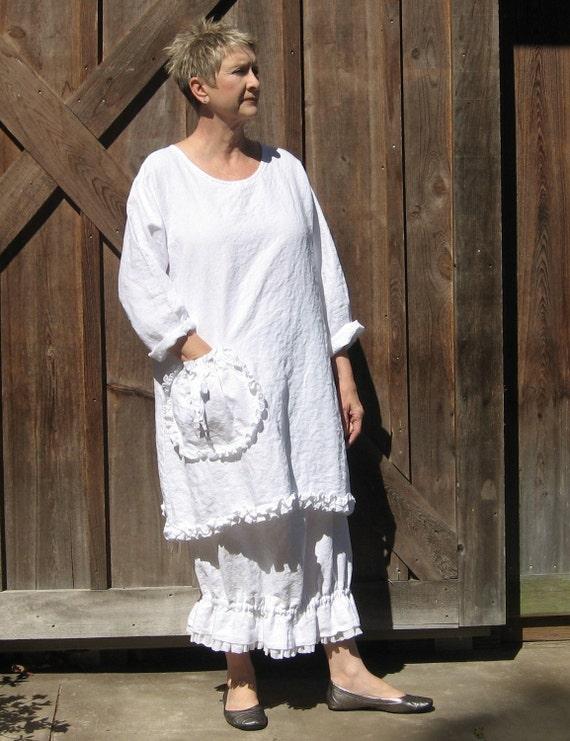 linen dress tunic in white