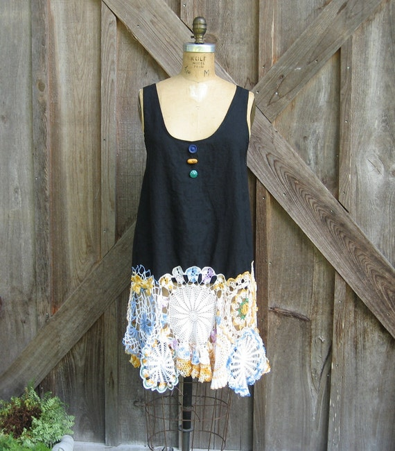 Tunic Dress Washed Linen In Black With Vintage Crochet Lace