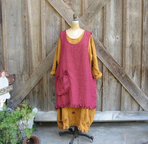 linen jumper pinafore dress tunic smock in mulberry