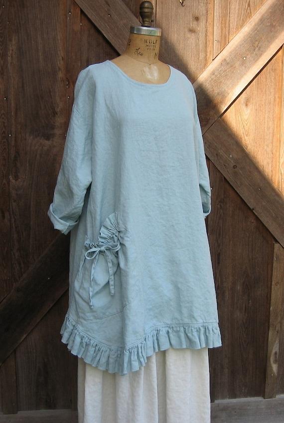 linen tunic dress money bag pocket in light blue