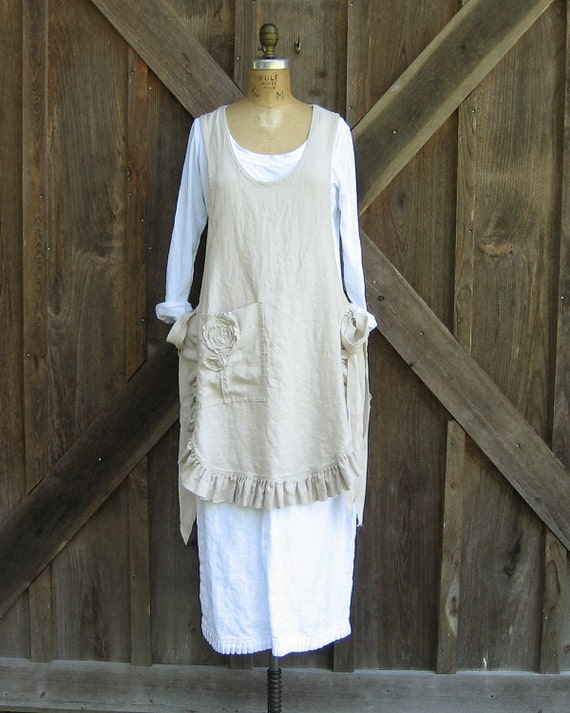 linen jumper pinafore apron dress tunic smock in  sand Ready to Ship