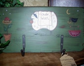 Hand Painted Primitive Olde Wool Coat Hanger.