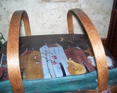 Primitive OOAK Handpainted Antique Woven Picnic Basket