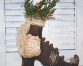 Primitive Folk Art Witches Go Riding Olde Witch Boot