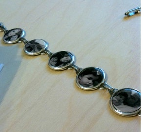 Custom Bracelet -Custom Photo Bracelet (One) - 5 Personal Photos - Antiqued Silver, Personalized Photo Bracelet, Picture Bracelet