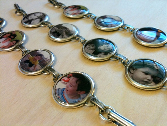 Custom Photo Bracelets (3) - WATERPROOF - 5 Personal Photos - Antiqued Silver - Family Gift Personalized - Picture Bracelet