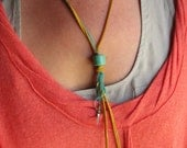 Rio Necklace. Bright, funky, summery necklace of leather and beads.
