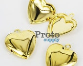 20x23mm Gold Plated Heart Lockets Charm Pendant Photo Frame 4pcs (0138)