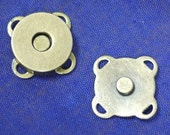 Sew On Magnetic Purse Snap Closure Antique Brass 14 mm 30 Sets (0158)