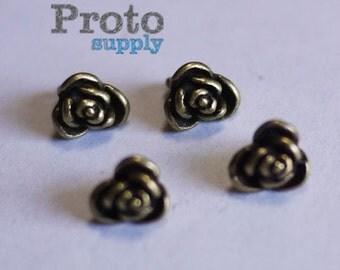 Rose Bud Blossom Flower Button Charm Pendent Antique Bronze 10pcs (0541)