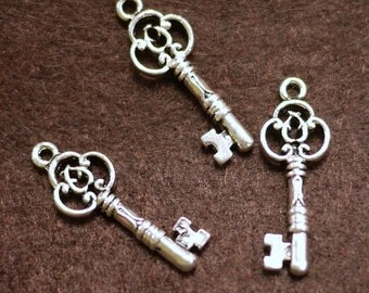 Antique Silver Key Charm Pendant 10x30mm -  10pcs (0402)