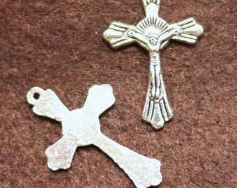 Antique Silver Cross Pendant Charm 10x14 mm - 10pcs (0404)
