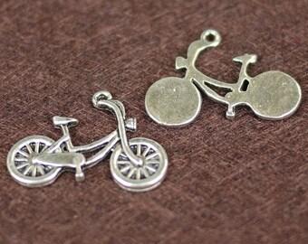 Antique Silver Bicycle Charm Pendant 4 pcs (0429)