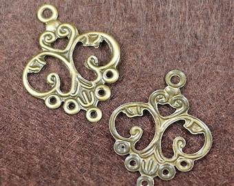 Antique bronze brass vintage Style chandelier earring pendant beads 10PCS (2039)