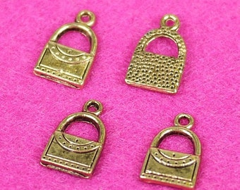 Golden Metal Bag/Purse Bead Charm 15pcs (3017)