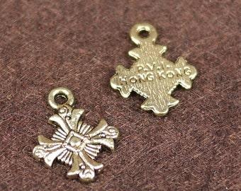 Antique Bronze Cross Charms, Cross Pendants 5pcs (Z-0020)