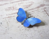 Sterling and Enamel Butterfly Pin