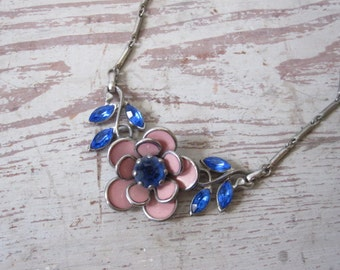 Pink and Blue Rhinestone Necklace